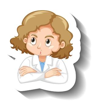 Cartoon-charakter-aufkleber mit einem mädchen im wissenschaftskleid