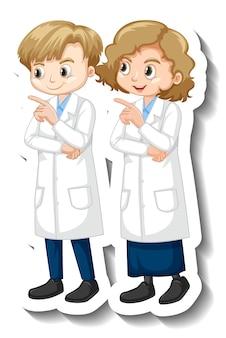 Cartoon-charakter-aufkleber mit kindern im wissenschaftskleid