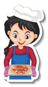 Cartoon-charakter-aufkleber mit kochmädchen mit pizza-tablett