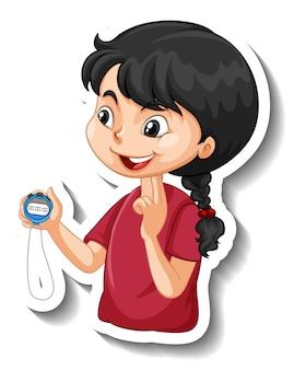 Cartoon-charakter-aufkleber mit sporttrainer-mädchen, das einen timer hält
