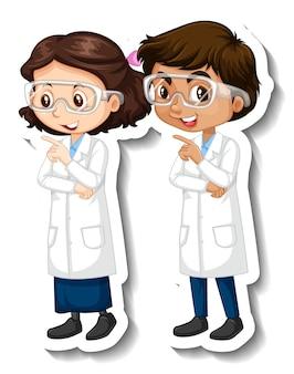 Cartoon-charakter-aufkleber mit wissenschaftlerpaar im wissenschaftskleid