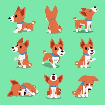 Cartoon charakter basenji hund stellt