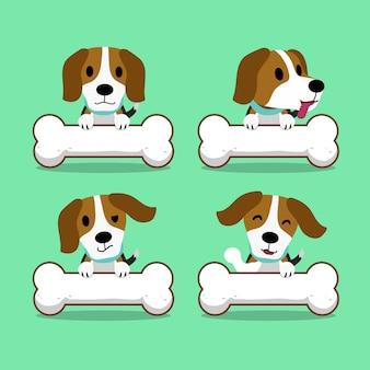 Cartoon charakter beagle hund mit großen knochen