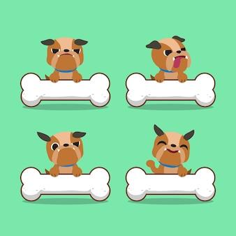 Cartoon charakter bulldogge mit großen knochen