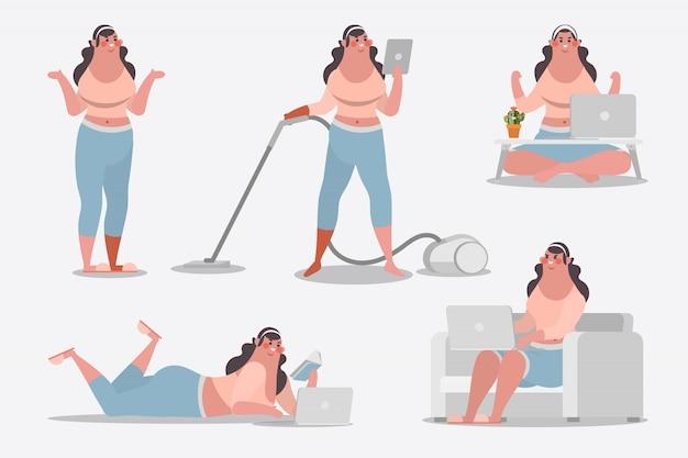 Cartoon charakter design illustration. junges mädchen zeigt haltung reinigung haus verwenden computer und bücher lesen