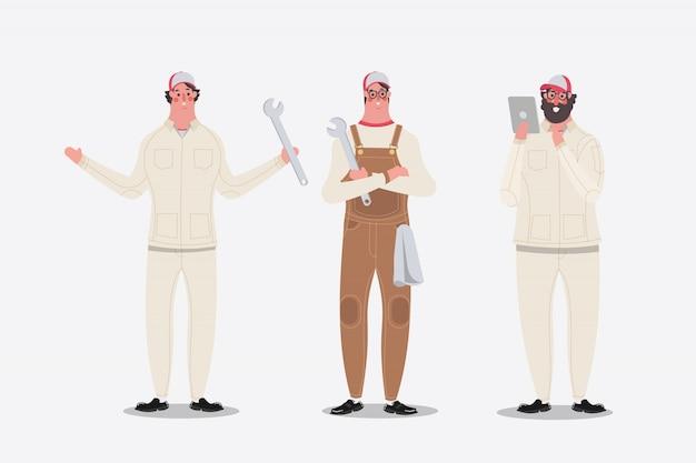 Cartoon charakter design illustration. mechaniker, der grüße zeigt und tablette verwendet