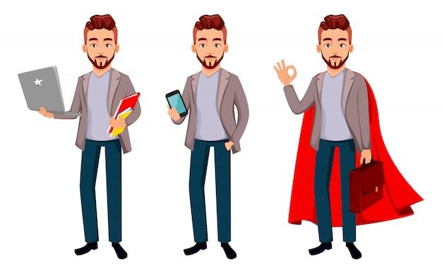 Cartoon charakter geschäftsmann in freizeitkleidung