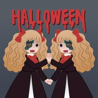 Cartoon charakter halloween mädchen geist