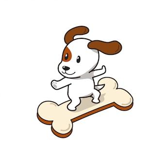 Cartoon charakter jack russell terrier hund auf großen knochen zeichen