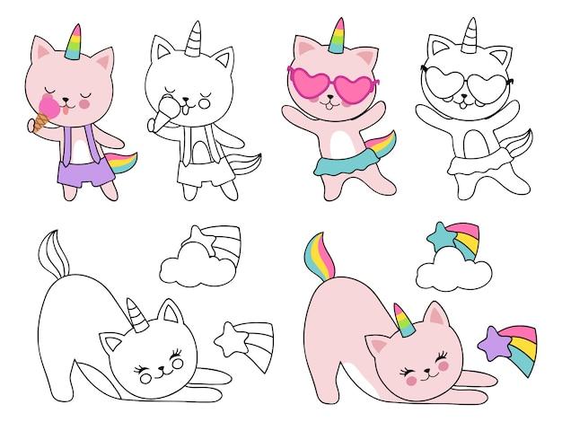 Cartoon charakter katzen einhorn illustration. färbung mit umriss und bunten kätzchen