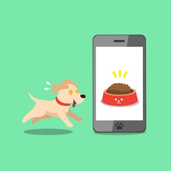 Cartoon charakter labrador retriever hund und smartphone