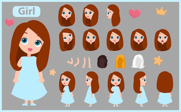 Cartoon charakter mädchen konstruktor kreation maskottchen-kit. stellen sie mit positionen, haarschnitten, emotionen ein. isolierte vektor-illustration.