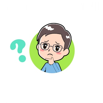 Cartoon charakter mann frage