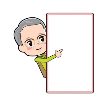 Cartoon charakter opa, peep board