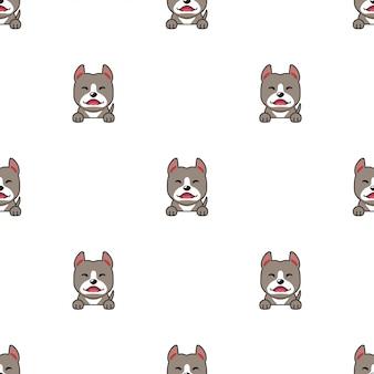Cartoon charakter pitbull terrier hund nahtlosen muster hintergrund