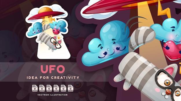Cartoon charakter ufo niedlicher aufkleber