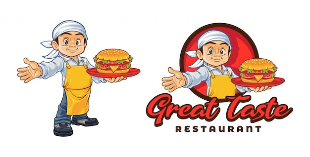 Cartoon chef hält hamburger charakter maskottchen logo