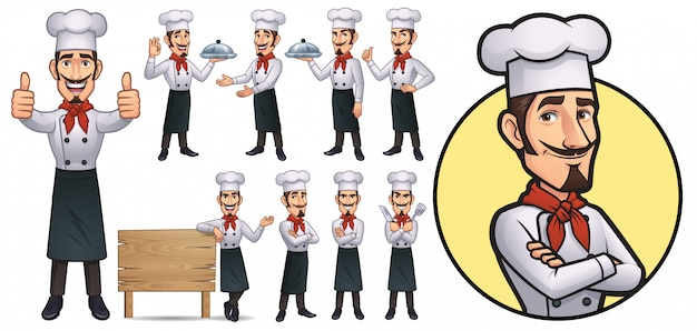 Cartoon chef maskottchen