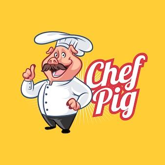 Cartoon chef schwein maskottchen logo