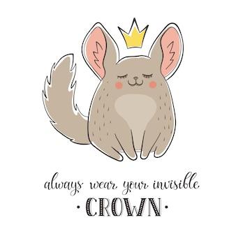 Cartoon chinchilla mit krone