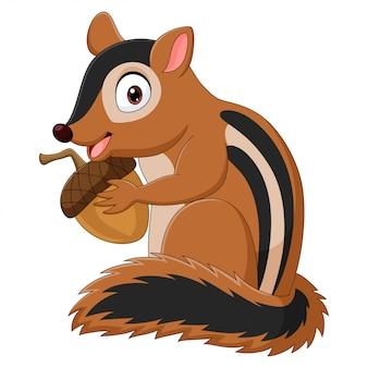 Cartoon chipmunk, der eine eichel hält