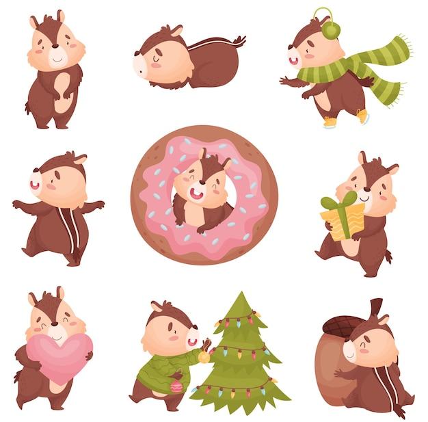 Cartoon chipmunk mit verschiedenen objekten neujahrsbaum