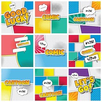 Cartoon comic-buch vorlage thema vektorillustrationen