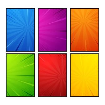 Cartoon-comic-halbton-zoom-farben eingestellt, halbton-textur und superhelden-hintergründe