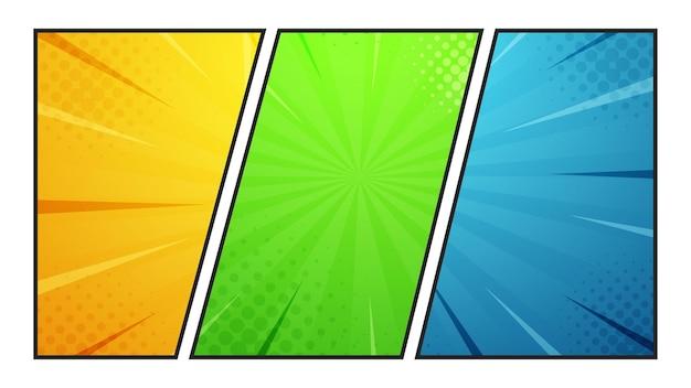 Cartoon-comic-halbton-zoom-farben, halbton-textur und superhelden-hintergründe
