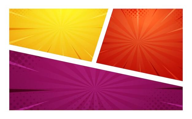 Cartoon-comic-halbton-zoom rot gelb lila farben, halbton-textur und superhelden-hintergründe