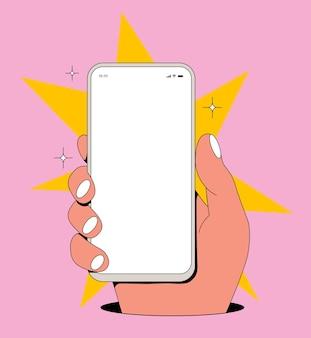 Cartoon comic-vintage-smartphone-bildschirmmodell mit hand, die telefon mit leerem weißem display auf rosafarbenem hintergrund hält