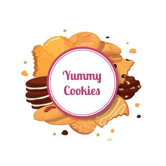 Cartoon cookies unter kreis mit platz für text