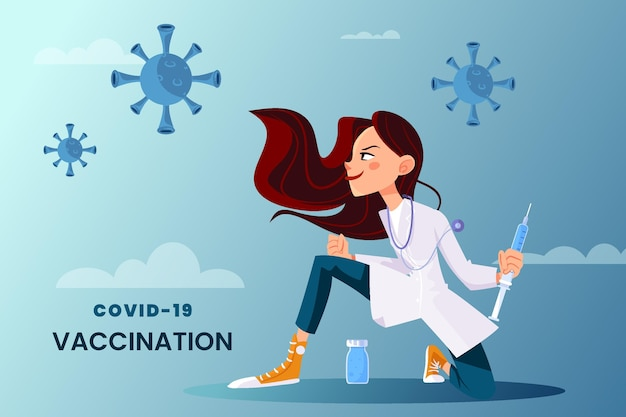 Cartoon-coronavirus-impfstoff im hintergrund des arztes