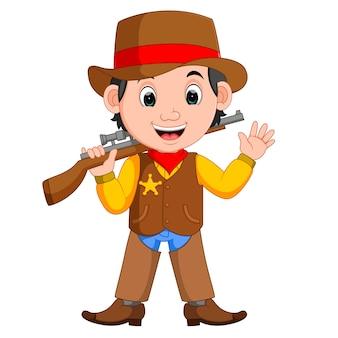 Cartoon cowboy mit einer pistole