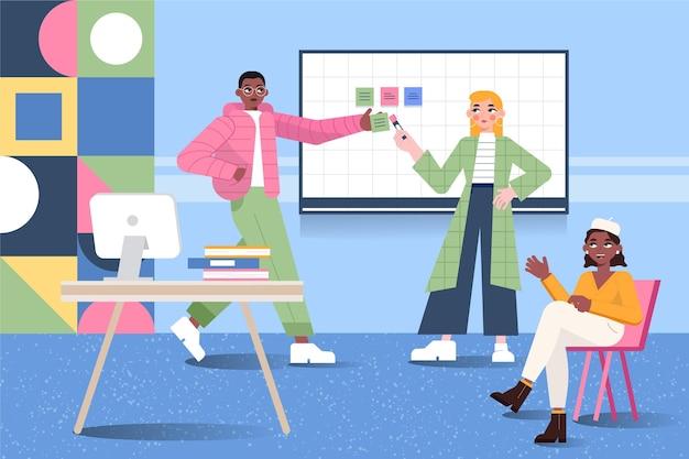 Cartoon coworking space dargestellt