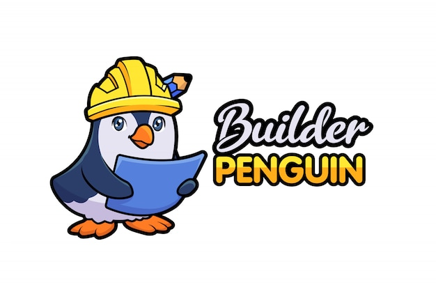 Cartoon cute penguin contractor builder hält blaupause und trägt schutzhelm charakter maskottchen logo