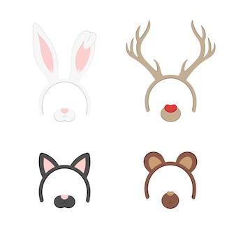Cartoon cute stirnband mit ohren urlaub festgelegt. kaninchen, rehe, katze, bär. flache design-stil. party-maske vektor-illustration.