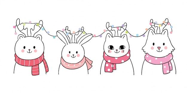Cartoon cute weihnachten, tiere und lichter vektor.