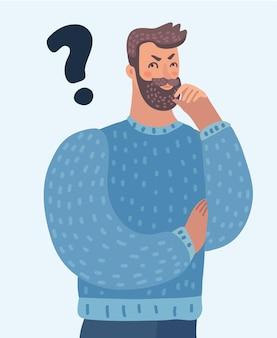 Cartoon denkender mann mit fragezeichen denkt