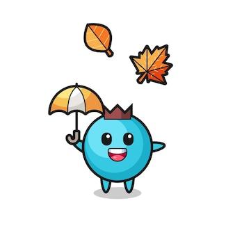 Cartoon der süßen blaubeere, die im herbst einen regenschirm hält, niedliches design für t-shirt, aufkleber, logo-element