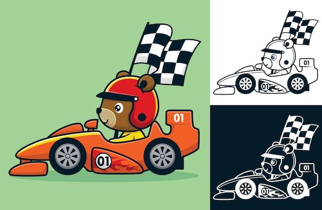 Cartoon des lustigen bären mit helm, der rennwagen fährt, während er die zielflagge trägt