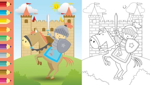 Cartoon des ritters mit schwert und schild reitpferd auf schloss, malbuch oder seite