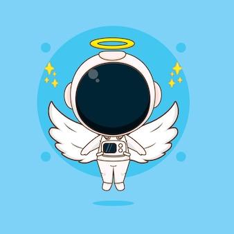 Cartoon des süßen astronauten als engel