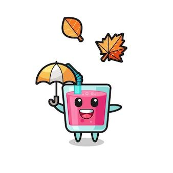 Cartoon des süßen erdbeersaftes, der im herbst einen regenschirm hält, niedliches design für t-shirt, aufkleber, logo-element
