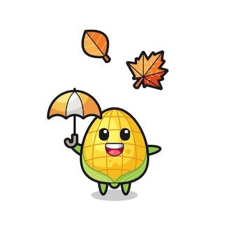 Cartoon des süßen mais, der im herbst einen regenschirm hält, niedliches design für t-shirt, aufkleber, logo-element