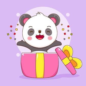 Cartoon des süßen pandas in der geschenkbox