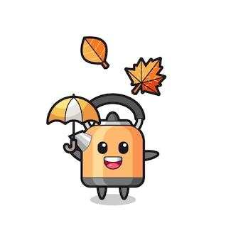 Cartoon des süßen wasserkochers, der im herbst einen regenschirm hält, niedliches design für t-shirt, aufkleber, logo-element