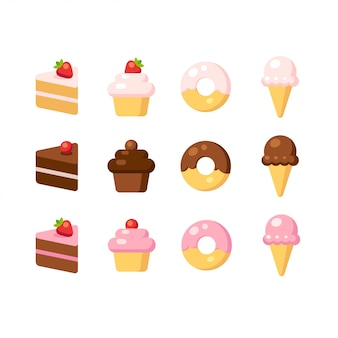 Cartoon dessert icon set. kuchen, cupcake, donut und eis in verschiedenen geschmacksrichtungen.