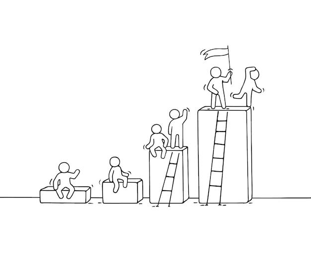Cartoon-diagramm mit arbeitenden kleinen leuten. handgemalt