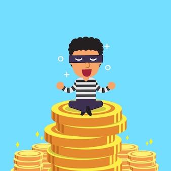 Cartoon dieb und geld münzen